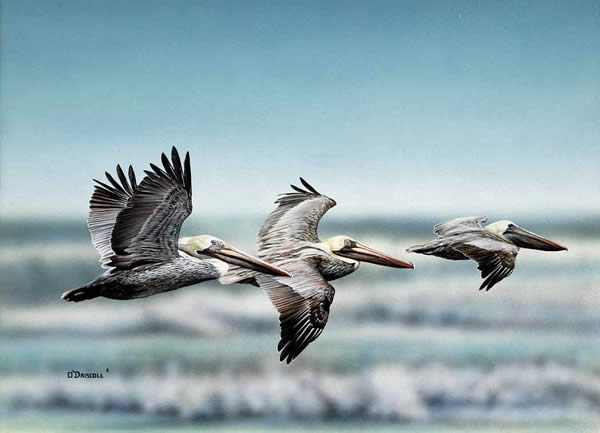 Beach Scene an original painting by wildlife artist Danny O'Driscoll