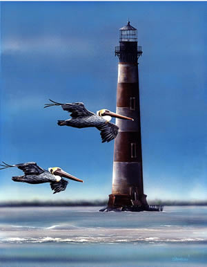Morris Island Lighthouse an acylic painting by wildlife artist Danny O'Driscoll