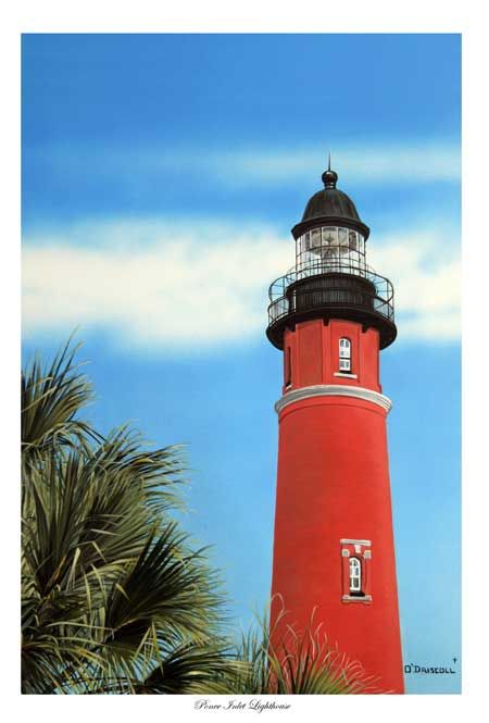 Ponce Inlet Lighthouse acrylic painting by Wildlife Artist Danny O'Driscoll