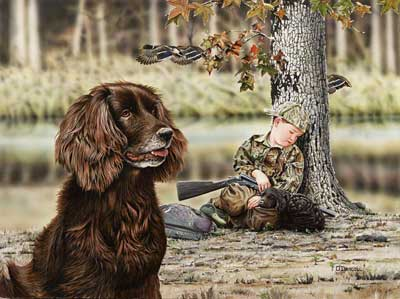 """Tuckered Out"" - Boykin Spaniel Print by Wildlife Artist Danny O'Driscoll"